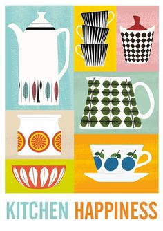 Cathrineholm Kitchen print retro kitchen decor colorful by handz, $43.00