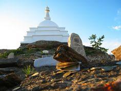 Buddhists' stupa on Ogoy island, Lake Baikal, Siberia, Russia.