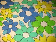 Vintage 1960s 1970s BIG FABRIC SALE SAVE YOUR MOOLA Big Flower Power Blue Green Cartoon Fabric