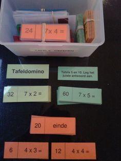 De tafels oefenen met deze tafeldomino's. Te downloaden van digischool.