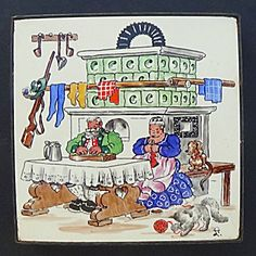 Annelore Luest Tile Trivet Couple At Old Tiled Stove Antique Tiles, Making Out, Stove, Mosaic, Hand Painted, Knitting, Couples, Antiques, Cats