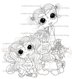 INSTANT DOWNLOAD Digital Digi Stamps Big Eye Big Head Dolls Digi  My Besties Wee Winged Flicker Of Hope  By Sherri Baldy