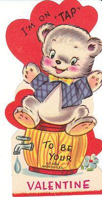 Vintage Valentine Card Dressed Bear Sits on Keg Barrel Die-Cut for Children