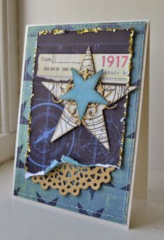 card star stars card with stars and doily Picturing the World: Gitte blomsterbox