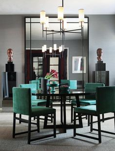 Dining Room - Contemporary dining in rich jewel tones, symmetrically styled with cleverly chosen decor.  Elegant.
