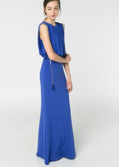 Pleated long dress--summer wedding $129