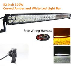 Curved Amber White Led Light Bar 52 inch 300W Spot Flood Combo 100*3W Led Off road Light Bar with Free Wiring Harness for 4WD Off Road Truck Suv Ute Atv 4x4 Boat