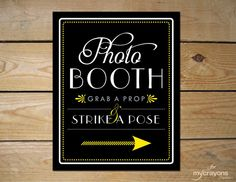 INSTANT DOWNLOAD Art Deco Photo Booth Wedding Poster // DIY Printable Wedding Sign // Black, White, Gray and Yellow