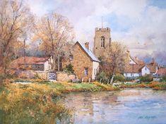 ian ramsay watercolors | cotswold stone england watercolor 9 x 12