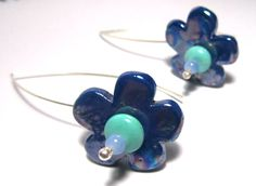 Flower earrings-Sterling silver-Ceramic flowers-Handmade-Magnesite-Glass beads-Gift for her-Silver jewelry-Handmade jewelry-Greek jewelry by PlanetEarthHandmade on Etsy