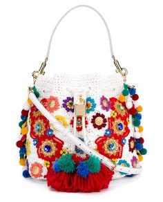 DOLCE & GABBANA Claudia Pompom Python Skin and Raffia Bucket Bag