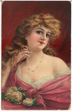 Beautiful Woman Holding Necklace Artist Postcard 1910