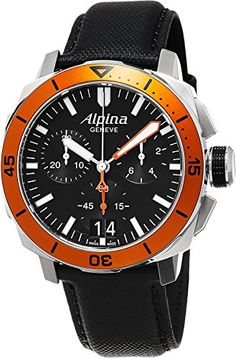 Men's Wrist Watches - Alpina Seastrong Diver 300 Big Date Chronograph Black Dial Black Leather Mens Watch AL372LBO4V6 * Click image to review more details.