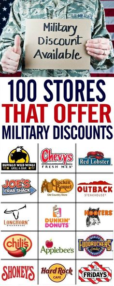 With Memorial Day just around the corner, what better time to put together a list of stores and restaurants that offer Military and Veterans discounts for t. Veterans Discounts, Military Discounts, Military Spouse, Military Veterans, Military Deployment, Military Relationships, Military Party, Military Ranks, Army Party