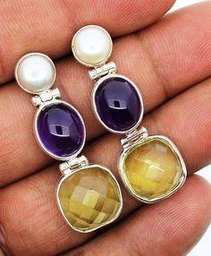 pearl amethyst leman quartz earrings silver 925 sterling jewelry natural gems