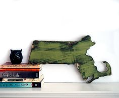 Massachusetts State (Pictured in Avocado) Pine Wood Sign Wall Decor Rustic Americana Country Chic Alternative Wedding Guest Book