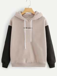 Letter Drawstring Contrast Sleeve Slogan Print Khaki Hoodie Casual Autumn Pullovers Long Sleeve Sporty Sweatshirt Size M Color Khaki Hoodie Sweatshirts, Khaki Hoodie, Mode Hijab, Sweat Shirt, Pulls, Romwe, Cute Outfits, Emo Outfits, Summer Outfits