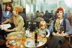 Angie Bowie, Zowie Bowie (Duncan Jones) and David Bowie (wearing an eyepatch) appear at a press conference at the Amstel Hotel on 7th February 1974 in Amsterdam, Netherlands