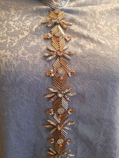 Silver Beaded Lace Trim Sequined Trim 1 Yard For Costume Wedding Dress Belt Brial Sash Jewelry Design - Her Crochet Indian Embroidery Designs, Zardozi Embroidery, Hand Embroidery Dress, Kurti Embroidery Design, Tambour Embroidery, Hand Embroidery Videos, Bead Embroidery Patterns, Embroidery On Clothes, Couture Embroidery