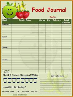 daily food diary template for kids printable