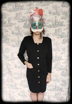 french black vintage dress size 38EU retro by ManonLauraVintage, €35.00