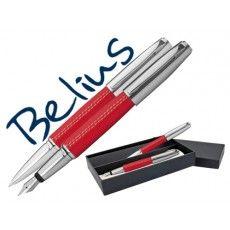 Cuerpo símil piel rojo Con pequeñas puntadas blancas Adornos cromados Bolígrafo con punta de 1mm y color negro Pluma con plumín medio