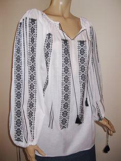 Hand made Romanian peasant blouse size XL / XXL - black pattern Peasant Blouse, Black Pattern, Long Sleeve, Sleeves, Model, Handmade, Tops, Fashion, Moda