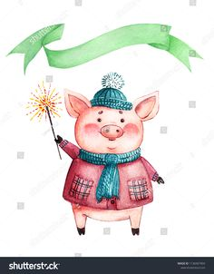 drawing of a watercolor pink pig in winter clothes and a green banner Pig Illustration, Illustrations, Nursery Design, Nursery Decor, Art Deco Table Lamps, Pig Art, New Year's Crafts, Mini Pigs, Kids Wall Decals