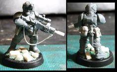 Veteran conversion - bolter mag on lasgun, scout nv goggles on helmet