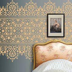 Now this is an amazing wall stencil! #HomeDecor #HomeDecorBlogger #MarkMontano #MakeYourMark #metallic #DIY