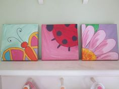 Peekaboo Animal canvas painting butterfly by Imakestuffallthetime