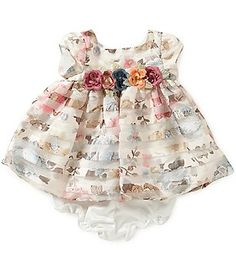 Laura Ashley London Baby Girls Newborn-24 Months Floral Shadow-Stripe Crepe…