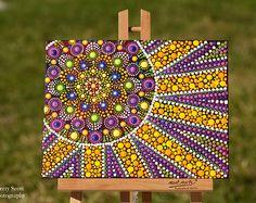 Citrus Sunshine original dot art painting mandala acrylic paints on canvas board dotpainting