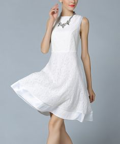 Another great find on #zulily! White Seam Fit & Flare Dress #zulilyfinds