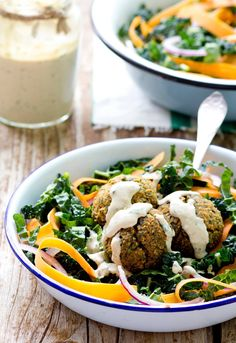 Recipe:  Baked Red Lentil Falafel Salad    - This recipe is so good! We eat it regularly. But with a Greek yogurt tahini dressing.