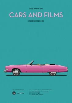 Poster of the car from True Romance. Illustration Jesús Prudencio. Cars And Films #carsandfilms #jesusprudencio #pink #trueromance #movieposter #print