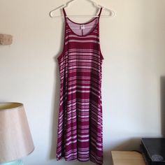 """Plum Stripe Dress It's brand new without tag. Colors are plum and white stripes. 95% rayon 5% spandex. Soft and stretchy. Measurement laying flat: Bust: 19"""" length: 33"""" Old Navy Dresses Midi"""