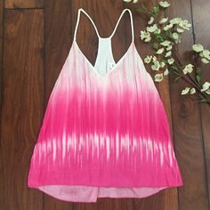 """Hot Pink Tie-Dye Dipped Tank Hot Pink and White Tie-Dye Dipped Racerback Tank! Slight V-Neck, Lined Underneath. Size Small. Brand new, Never Worn!  ✨Use the """"Buy Now"""" or """"Add to Bundle"""" Button to select your size for Purchasing✨ Tops Tank Tops"""