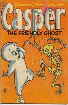 Casper the Friendly Ghost vintage Halloween comic book. Vintage Comic Books, Vintage Cartoon, Vintage Comics, Vintage Disney Posters, Old Comics, Vintage Horror, Vintage Ads, Fall Wallpaper, Halloween Wallpaper