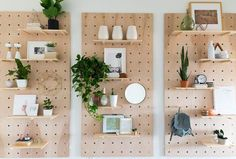 DIY Giant Pegboard Shelves - great for storage and great for making a big wall look cute!