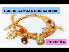 Como hacer una Pulsera con Cuero Gamuza y Cadena : Pekas Creaciones - YouTube