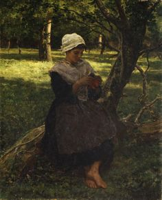 """Jules Breton, """"A Peasant Girl Knitting"""" c. 1870  Makes me think of the book, Rosa of Linden Castle  #RosaofLindenCastle Just beautiful..."""