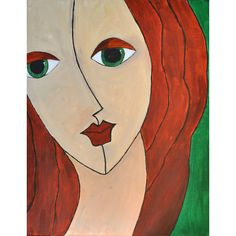 """Red haired woman on green canvas Modern wall art Decor Interior 13.7""""... ($52) ❤ liked on Polyvore featuring home, home decor, wall art, stretched canvas, modern canvas wall art, modern paintings, modern canvas painting and green canvas wall art"""