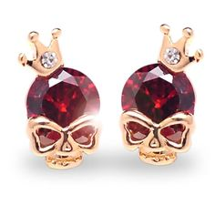 Beautiful earrings with with a crown and a cubic zircon. These earrings are gold platted. They are available in red. If you love skulls, these are made for you.