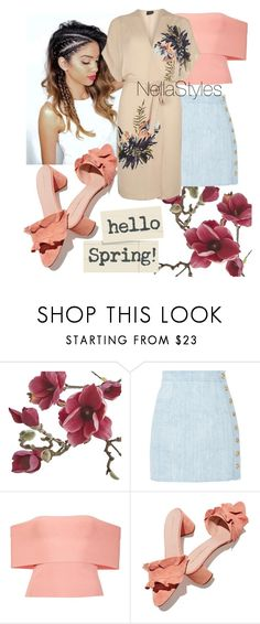 """Spring Shower"" by nellastyles ❤ liked on Polyvore featuring Crate and Barrel, Balmain, T By Alexander Wang, Loeffler Randall and Dorothy Perkins"
