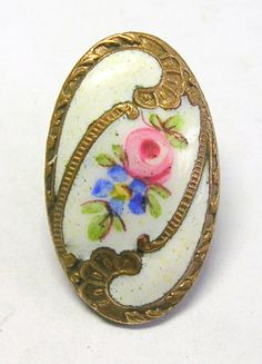 ANTIQUE FRENCH ENAMEL GENT'S WAISTCOAT BUTTON w/BLUE FORGET-ME-NOT & PINK ROSE | eBay