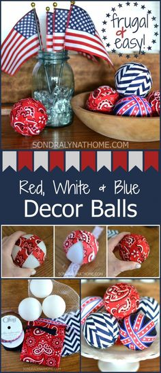 Patriotic Decor Filler Balls - Sondra Lyn at Home - - Make these easy patriotic decor filler balls to enhance your summertime decor. They are perfect for any red white & blue holiday. and frugal too! Fourth Of July Decor, 4th Of July Decorations, 4th Of July Party, July 4th, 4th Of July Wreath, Birthday Decorations, Christmas Decorations, Patriotic Party, Patriotic Crafts