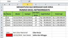Menghitung Gaji Karyawan dengan Excel, Fungsi NETWORKDAYS