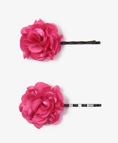 Satin Rosette Hair Pin Set | FOREVER21 - 1018355806