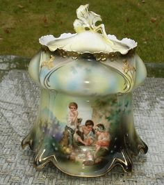 Antique RS Prussia BISCUIT JAR DICE THROWERS MELON EATERS DOUBLE SCENE #RSPrussia